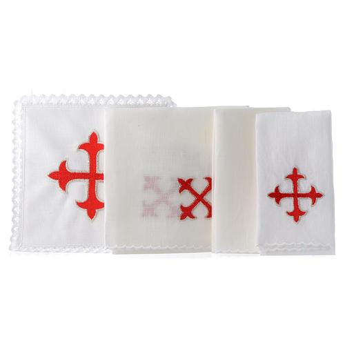 Linge d'autel lin croix baroque or rouge 2