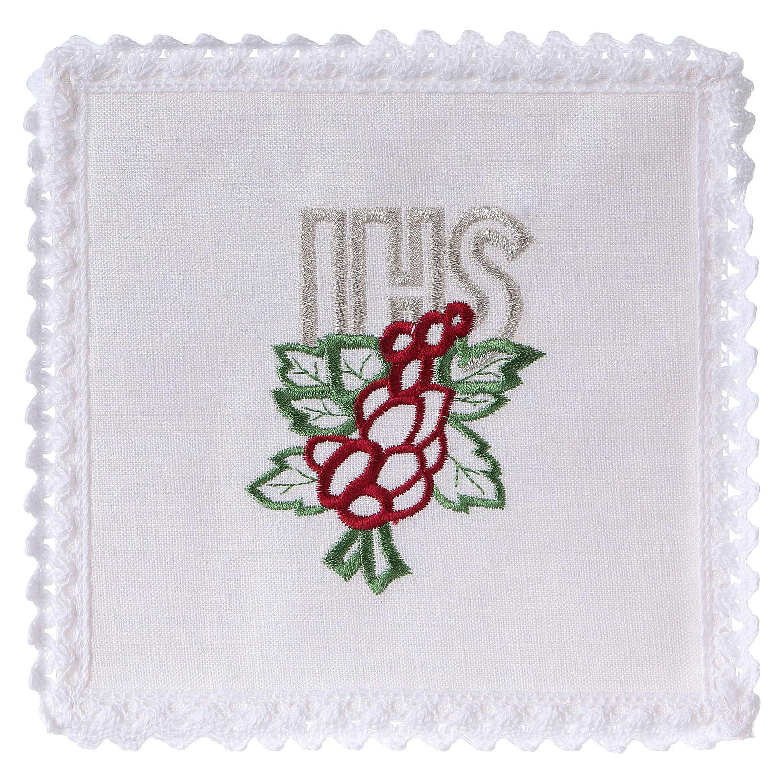 Servizio da altare lino ricamo uva foglie JHS 4
