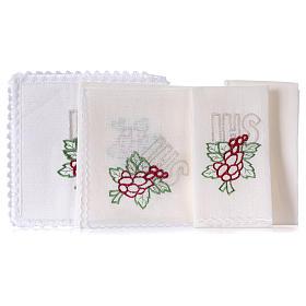 Conjunto de alfaia litúrgica linho bordado uva folhas IHS s2