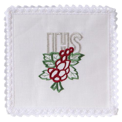 Conjunto de alfaia litúrgica linho bordado uva folhas IHS 1