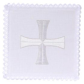 Servizi da messa e conopei: Servizio da altare lino ricamo croce bianca argento