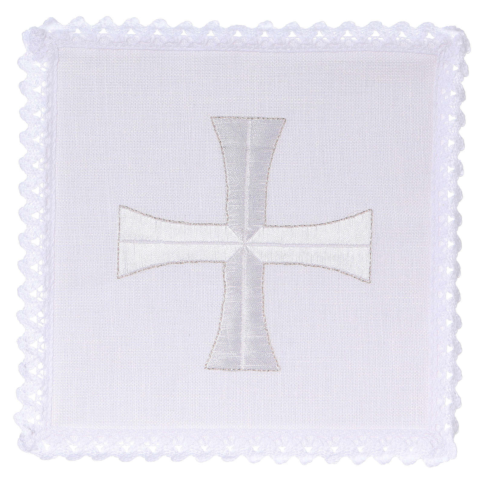 Altar cloth set white & silver cross, embroided 4