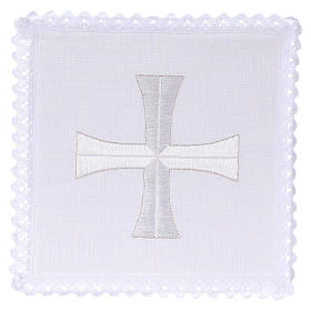 Altar linens: Altar cloth set white & silver cross, embroided