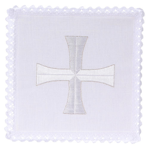 Altar cloth set white & silver cross, embroided 1