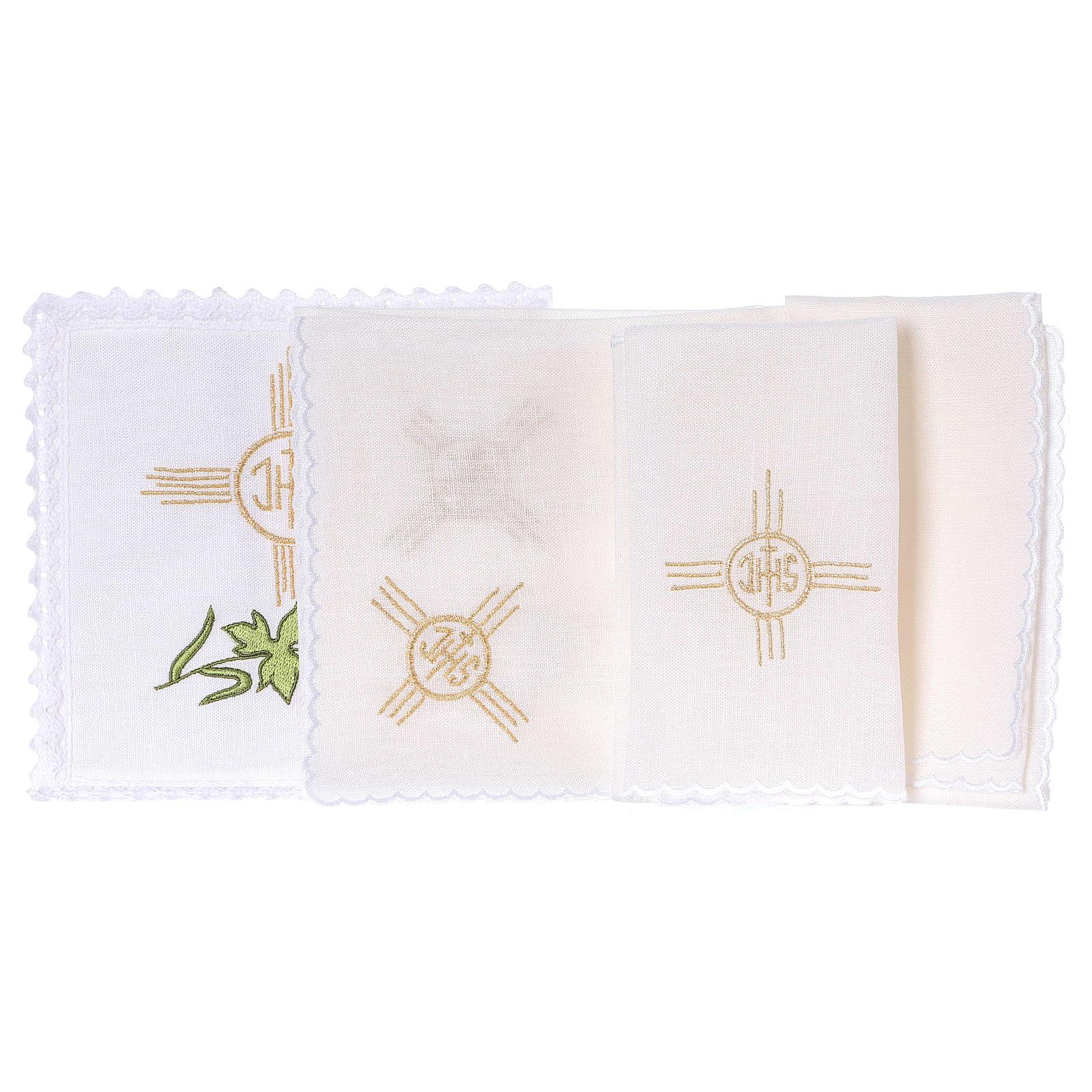 Servizio da altare lino spiga uva foglia simbolo JHS 4