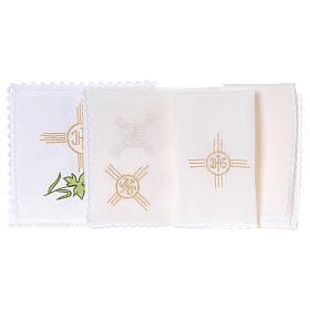 Conjunto de alfaia litúrgica linho trigo uva folha símbolo IHS s2