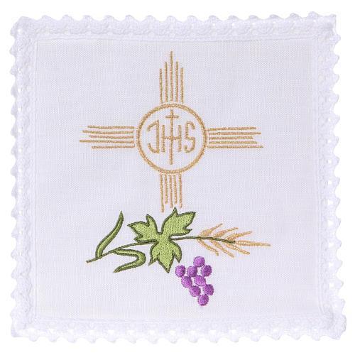 Conjunto de alfaia litúrgica linho trigo uva folha símbolo IHS 1