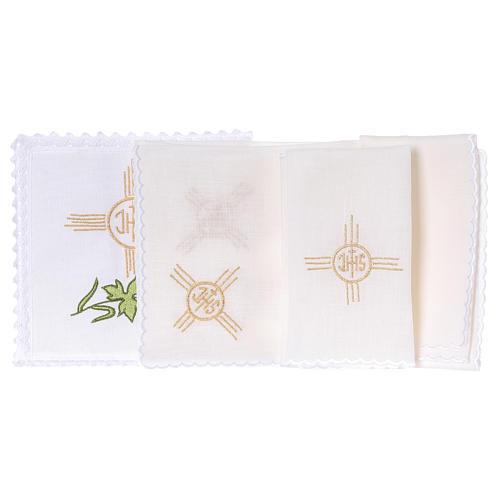 Conjunto de alfaia litúrgica linho trigo uva folha símbolo IHS 2