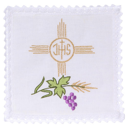 Altar linen set with wheat grapes leaf JHS 1