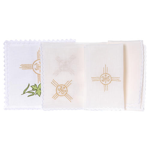 Altar linen set with wheat grapes leaf JHS 2