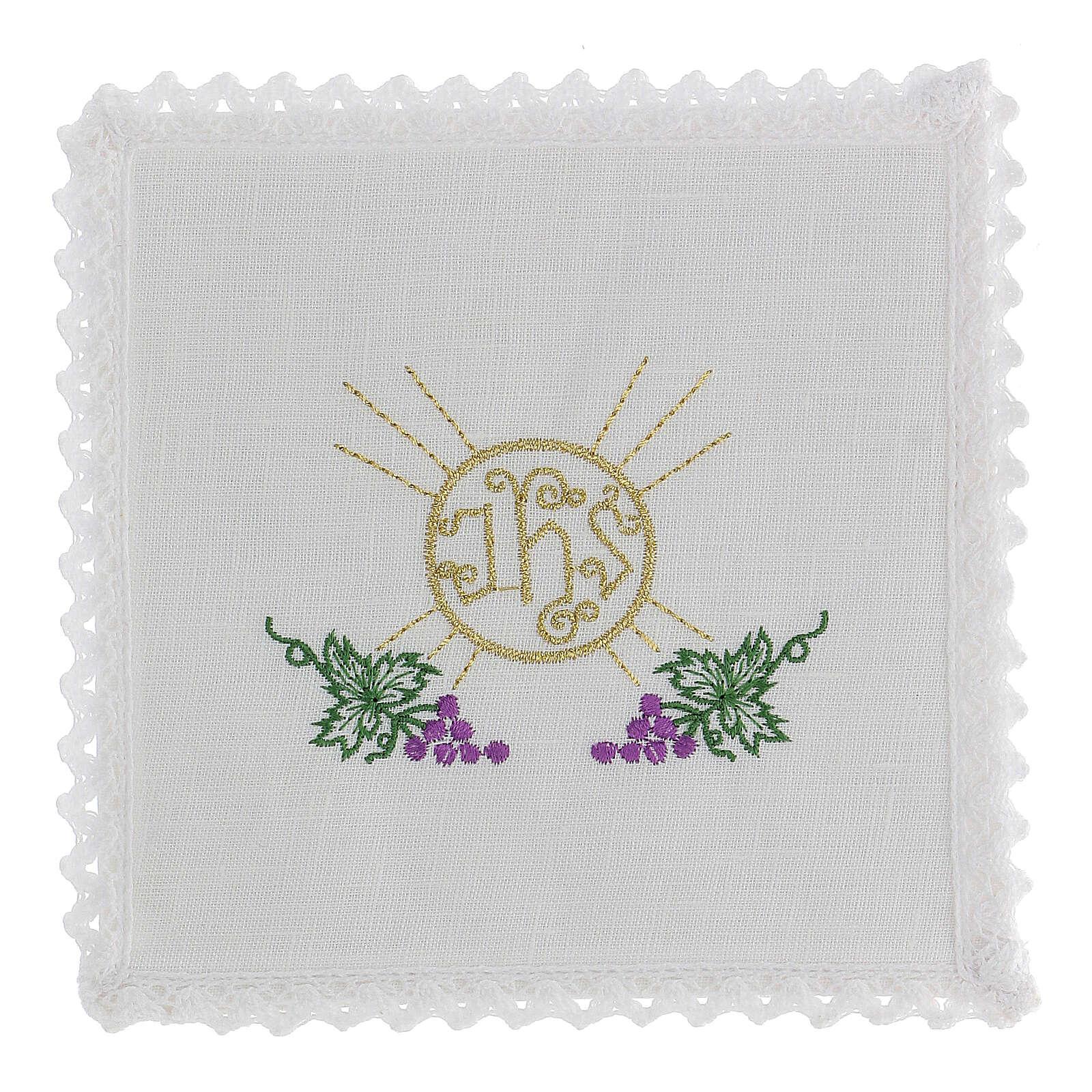 Linge d'autel lin grappes raisin feuilles hostie symbole IHS 4