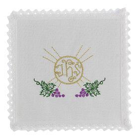 Linge d'autel lin grappes raisin feuilles hostie symbole IHS s1