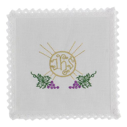 Linge d'autel lin grappes raisin feuilles hostie symbole IHS 1