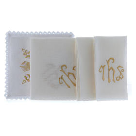 Altar linen golden embroideries, geometrical figures & JHS symbol s2