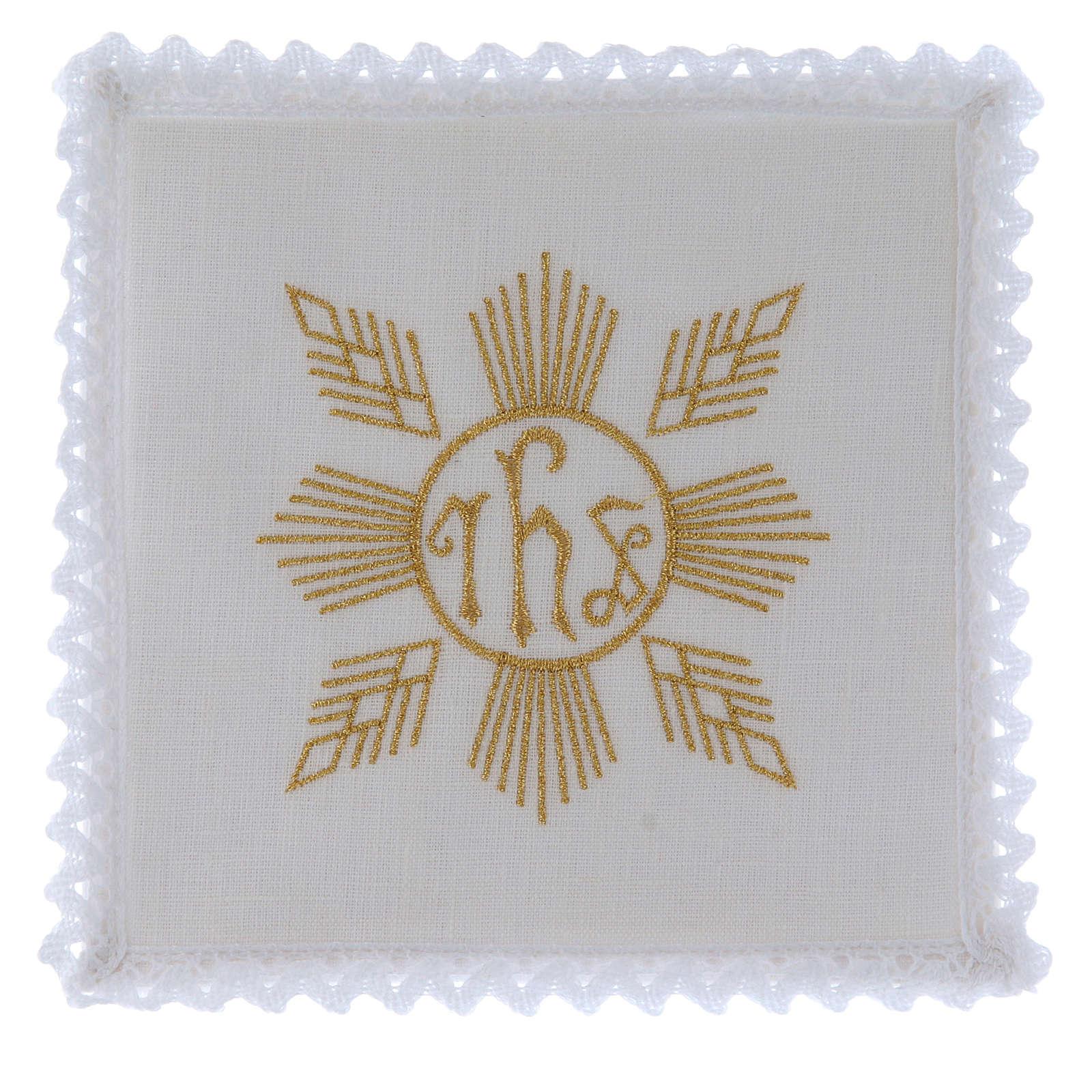 Linge d'autel lin broderie dorée formes géométriques symbole IHS 4
