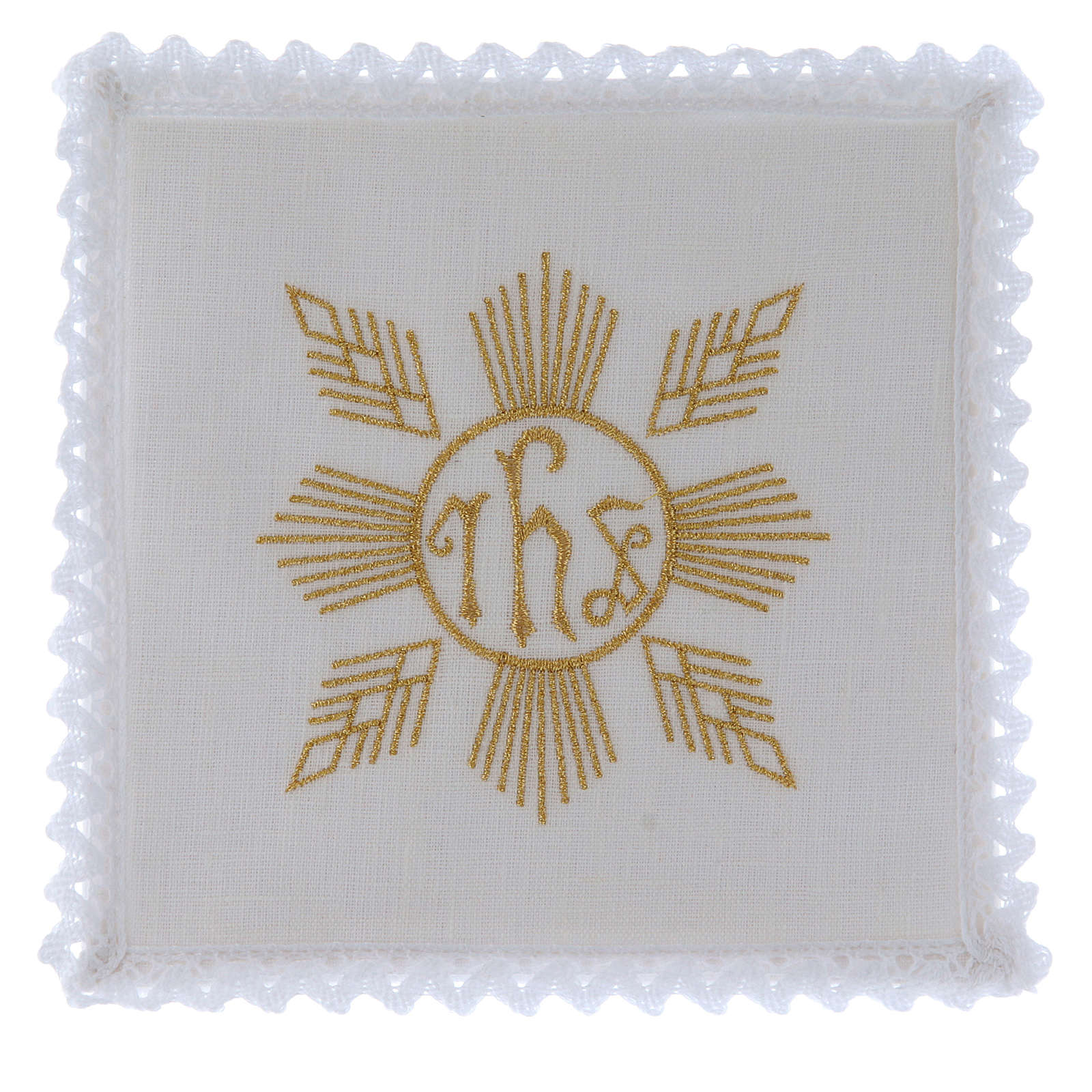 Conjunto de alfaia litúrgica linho bordado dourado motivo geométrico símbolo IHS 4