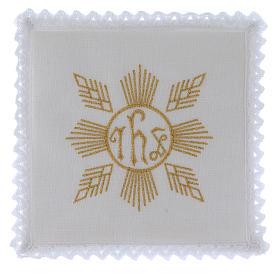 Conjunto de alfaia litúrgica linho bordado dourado motivo geométrico símbolo IHS s1