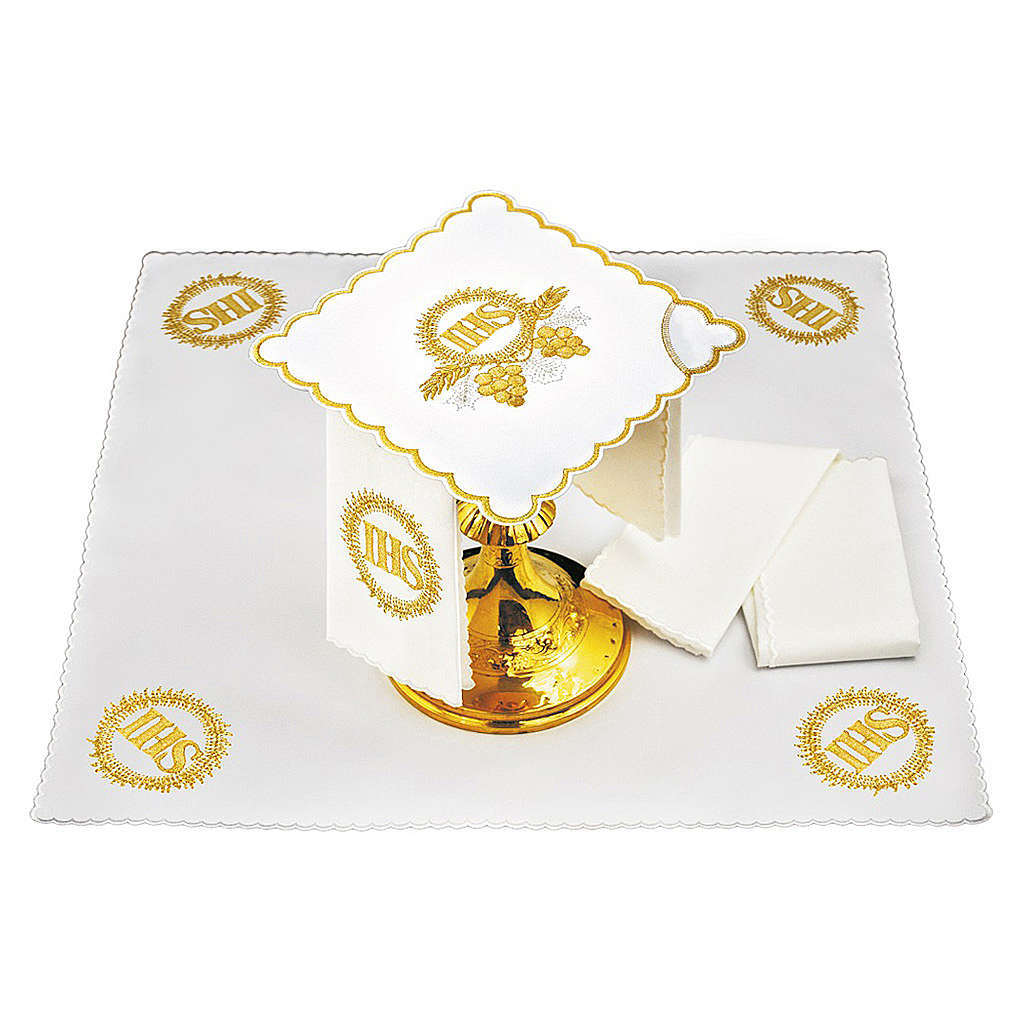 Altar linen golden embroideries grapes spikes JHS 4