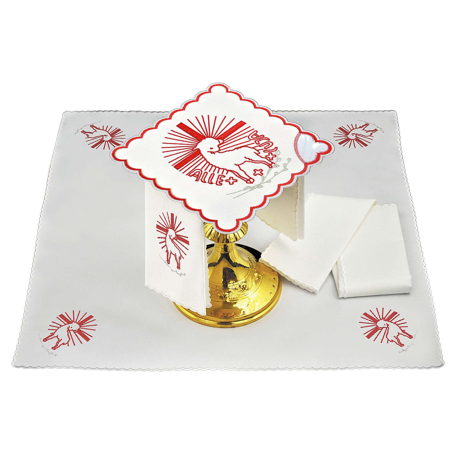 Servizio da altare lino ricami rossi Agnus Dei 4