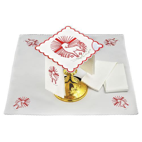 Servizio da altare lino ricami rossi Agnus Dei 1