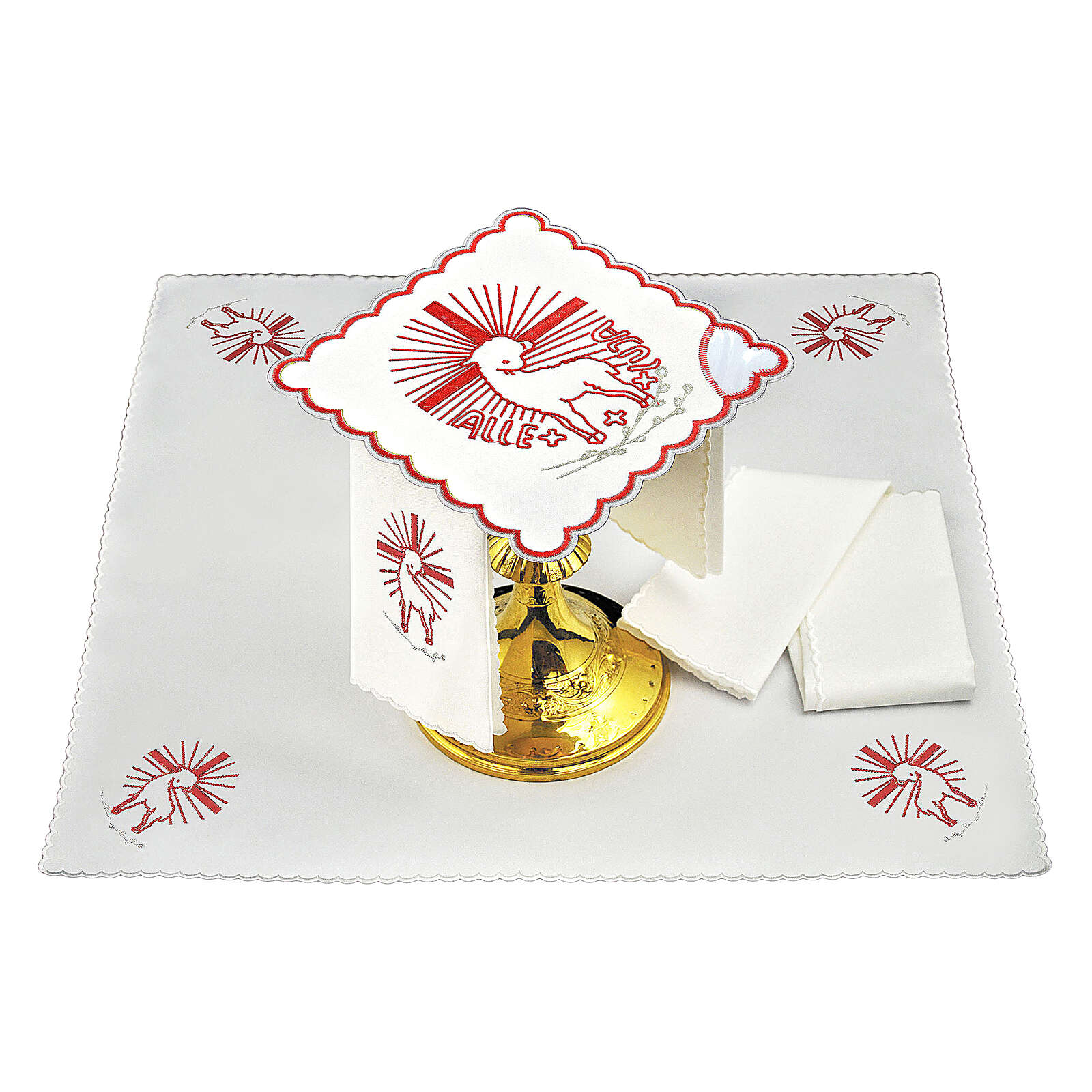 Mass linens set with red embroideries Agnus Dei 4