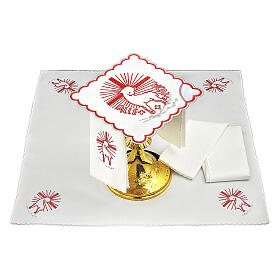 Mass linens set with red embroideries Agnus Dei s1