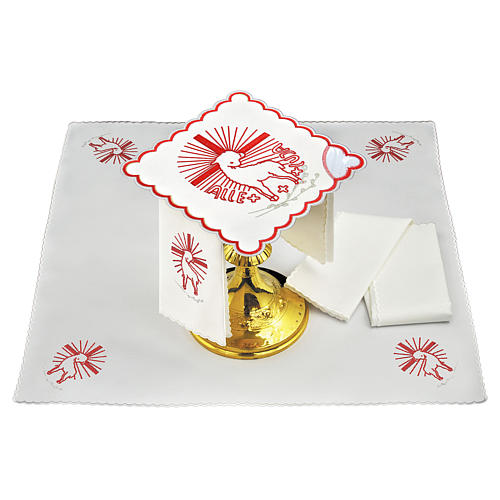 Altar linen red embroideries Agnus Dei 1