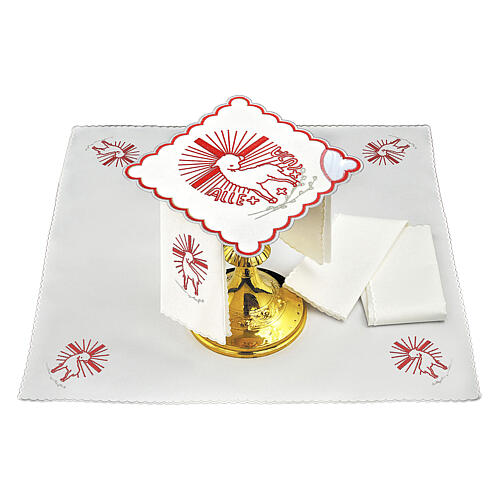 Mass linens set with red embroideries Agnus Dei 1