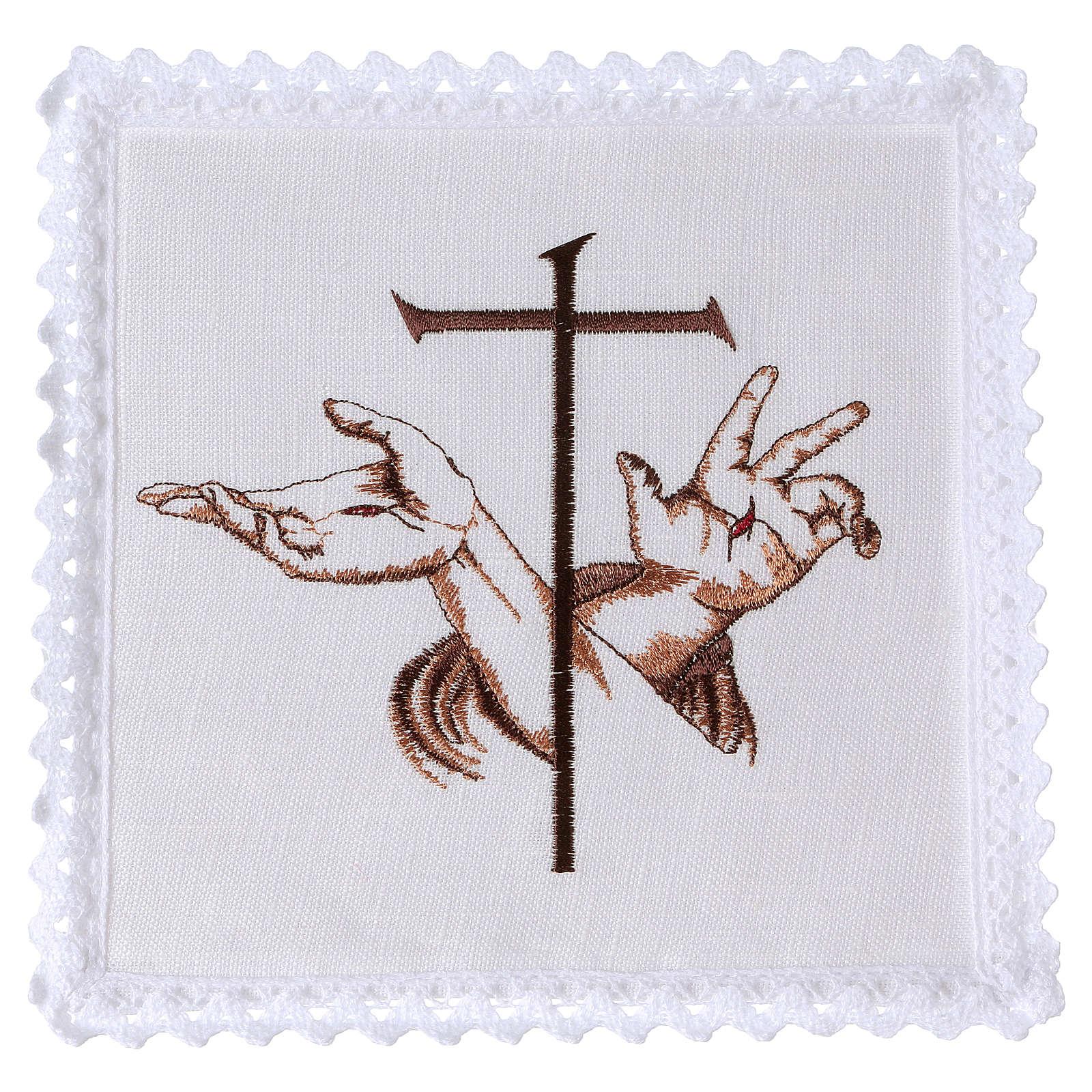 Conjunto de alfaia litúrgica linho mãos estigmas Jesus e cruz 4