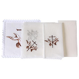 Conjunto de alfaia litúrgica linho mãos estigmas Jesus e cruz s2