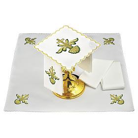 Servizio da altare lino croce barocca dorata sfumature verdi s1