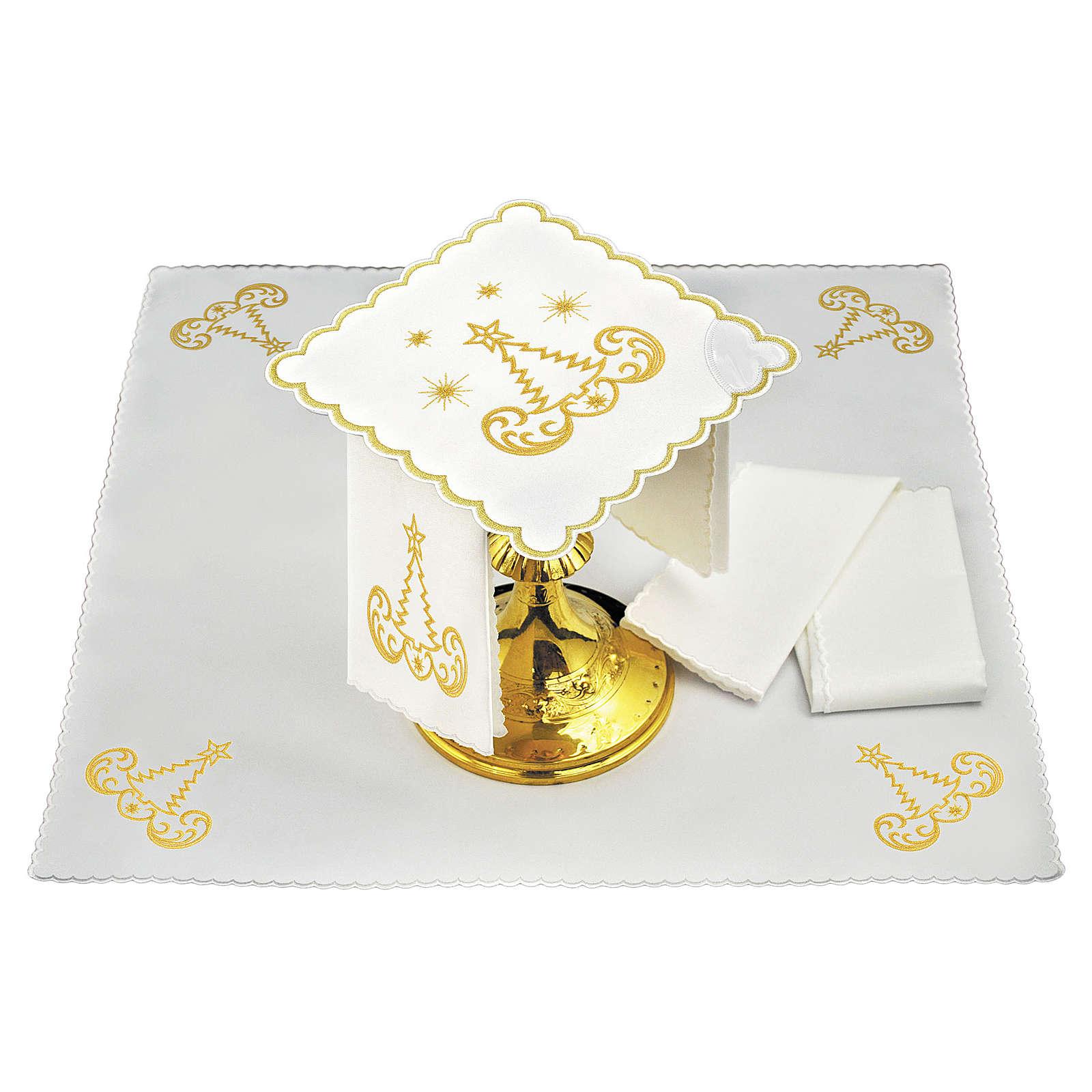 Linge autel lin broderie sapin de Noël étoiles 4