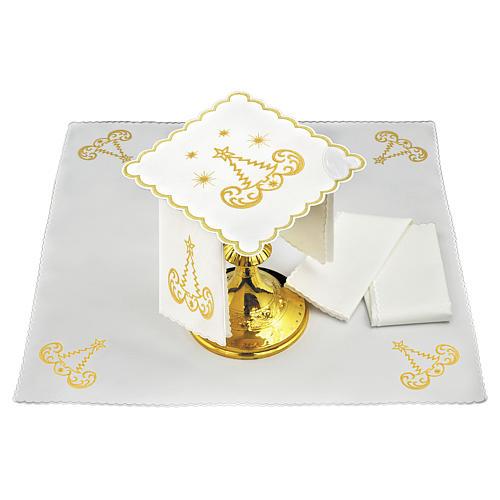 Linge autel lin broderie sapin de Noël étoiles 1