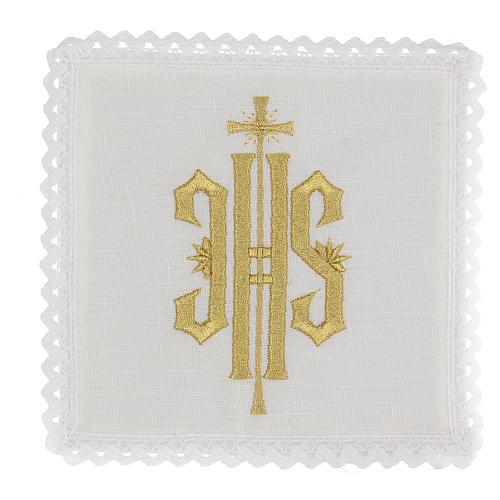 Servizio da altare lino simbolo JHS ricamato oro 1
