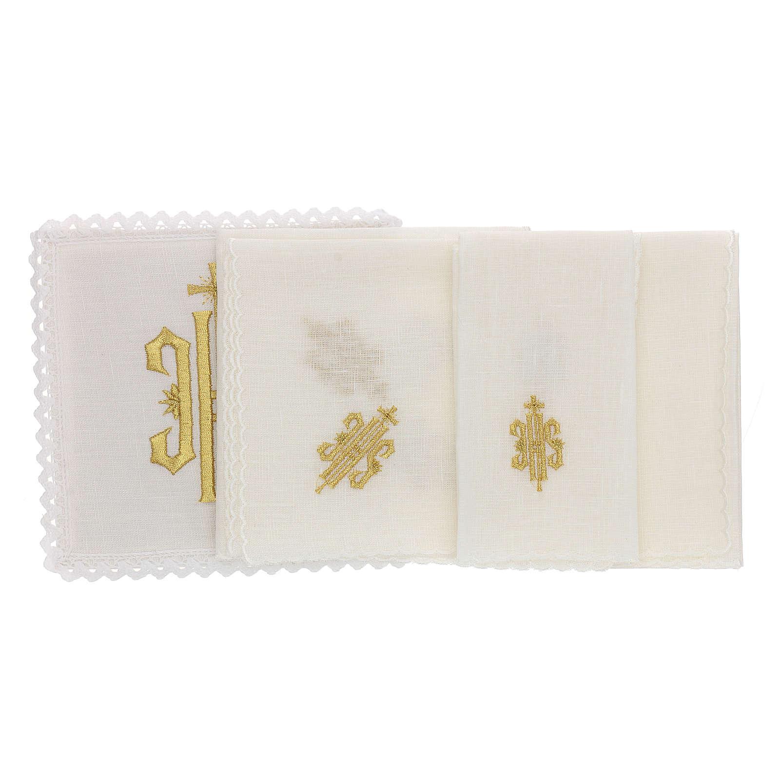 Bielizna kielichowa len symbol JHS haftowany złoty 4