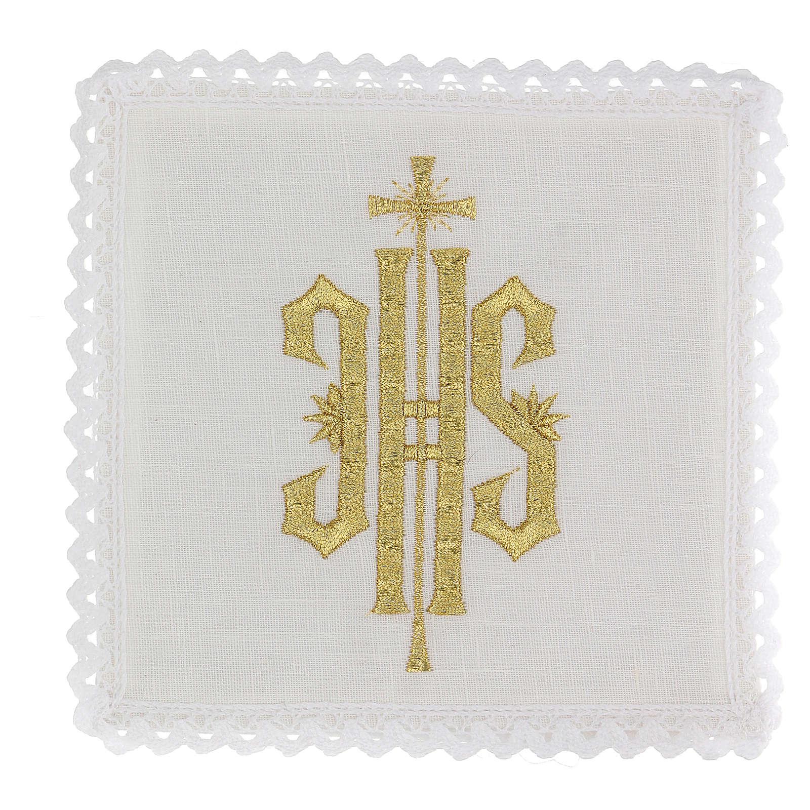 Conjunto altar linho símbolo IHS bordado ouro 4