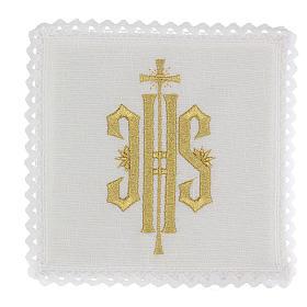 Conjunto altar linho símbolo IHS bordado ouro s1