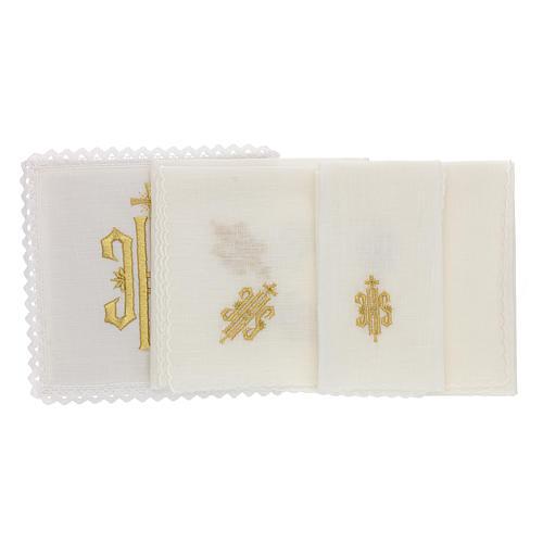 Conjunto altar linho símbolo IHS bordado ouro 2
