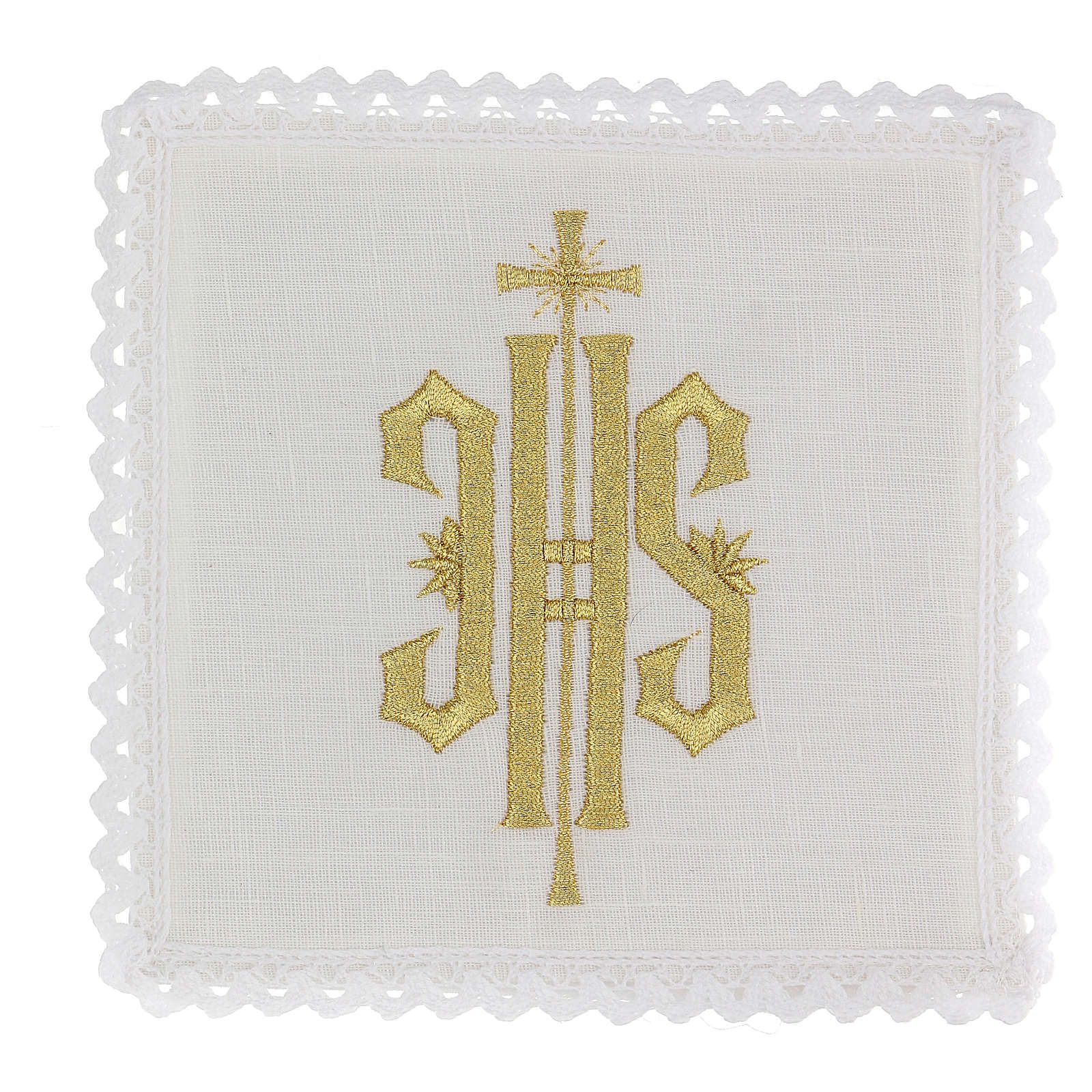 Altar linen set with JHS embroidery 4