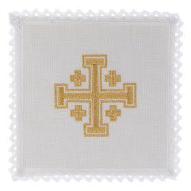 Altargarnitur: Kelchwäsche aus Leinen Jerusalem Kreuz