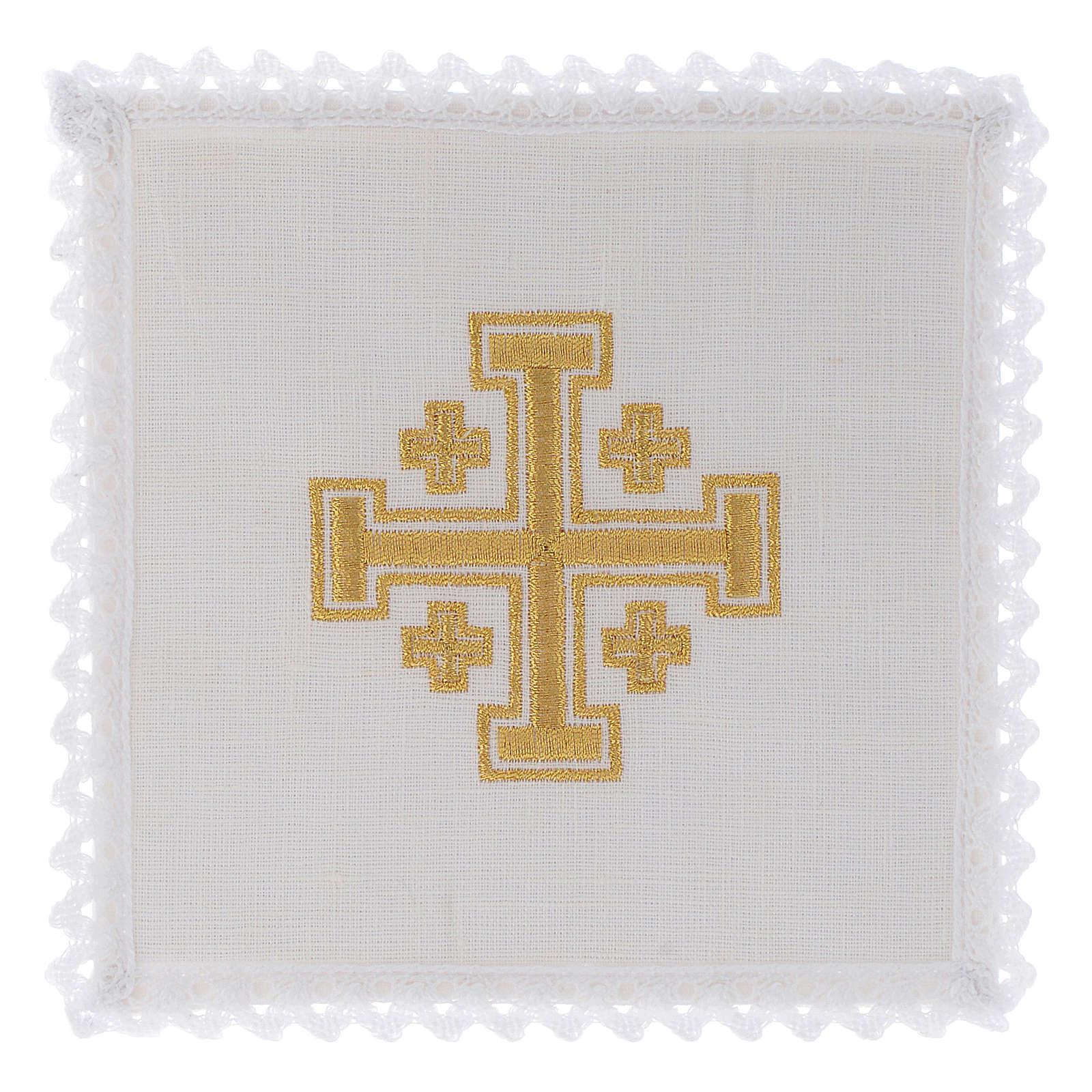 Servizio da altare lino croce di Gerusalemme 4
