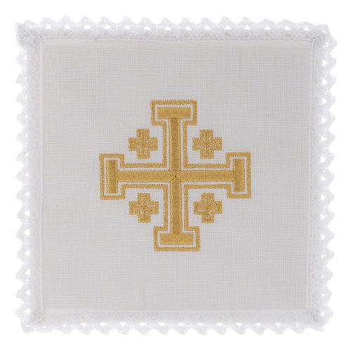 Mass linen set with gold Jerusalem Cross 1