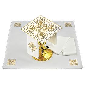 Servizio da altare lino quattro grappoli di uva dorati e croce s1