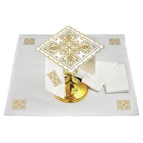 Servizio da altare lino quattro grappoli di uva dorati e croce 1