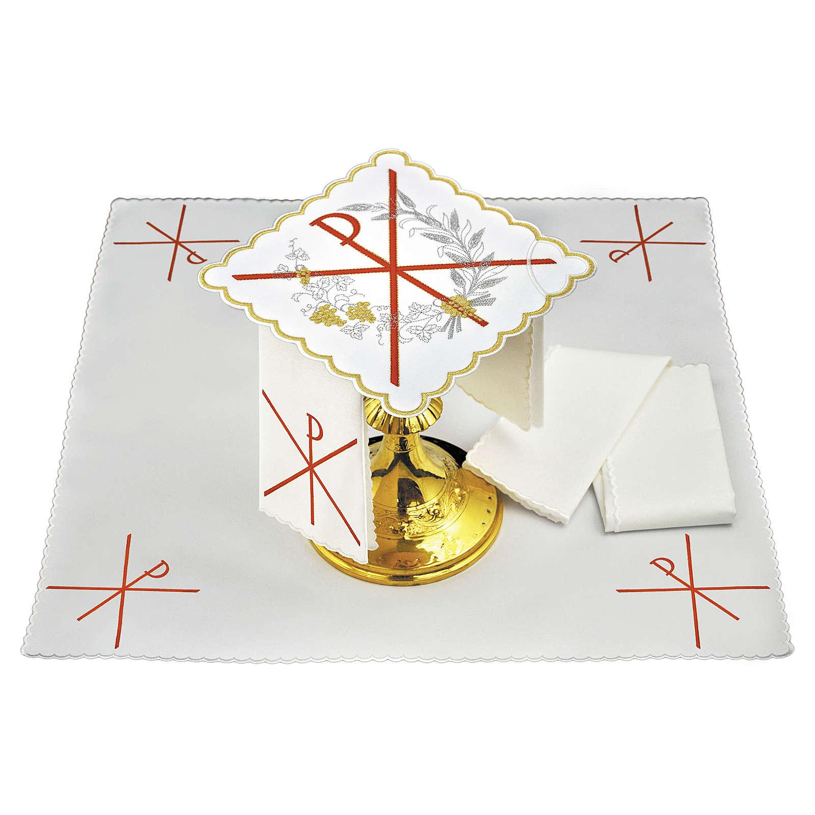 Servizio da altare lino simbolo PAX ricamo rosso 4