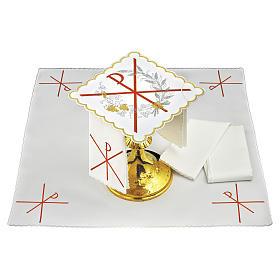 Servizio da altare lino simbolo PAX ricamo rosso s1