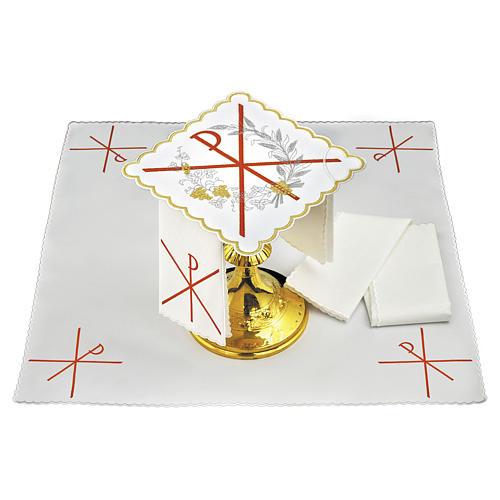 Servizio da altare lino simbolo PAX ricamo rosso 1