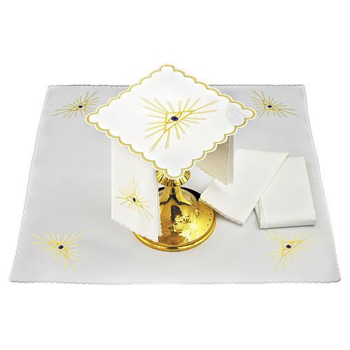 Servizio da altare lino raggi dorati e Occhio di Dio 1