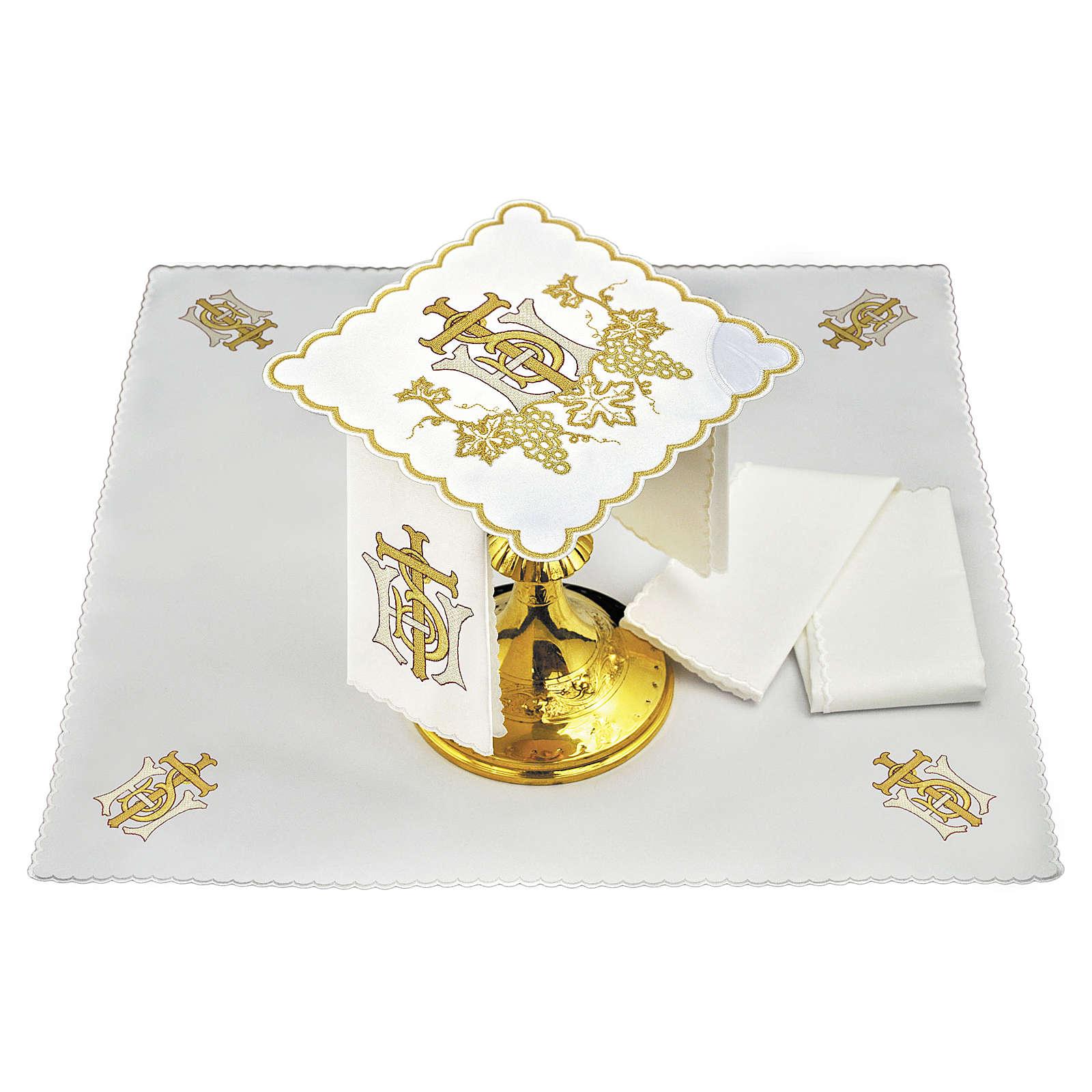 Linge autel lin grappes raisin croix broderie dorée 4