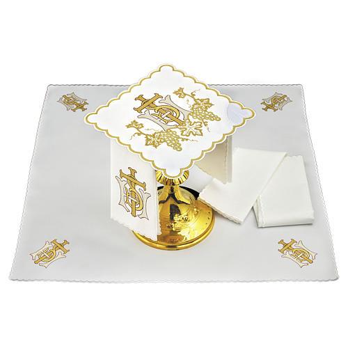 Linge autel lin grappes raisin croix broderie dorée 1